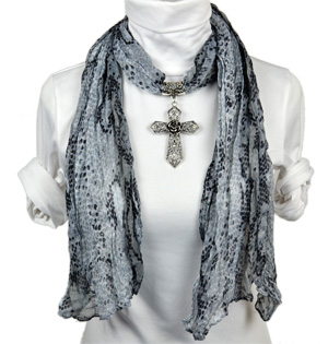 Cross pendant necklace jewelry scarf