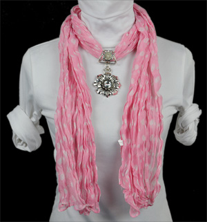 Scarf with pendant jewelry scarf
