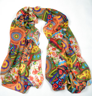 Cashew flower silk scarf wholesale