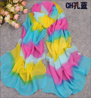 Colorful scarves accessories elegant stripe silk scarves