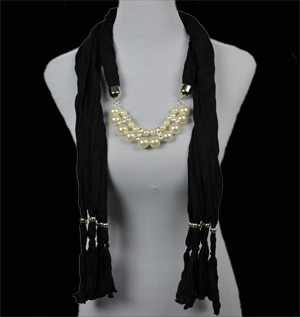 jewelry scarves Pendant pearl scarf