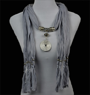 silver pendant necklace jewelry scarf