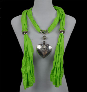 hot polyester heart pendant scarf