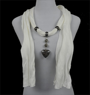 pendant scarf silver heart jewelry