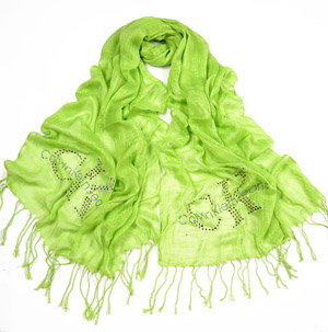 Womens Fashion Flower Rhinestone Scarf