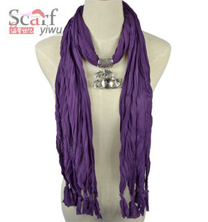 Elliptical Pendant Scarf Dark Purple