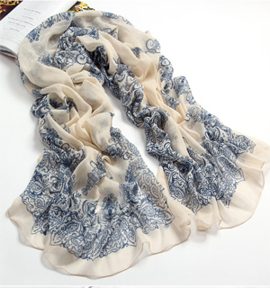 Chinese blue white porcelain scarf summer shawl
