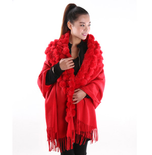 100% pure wool rabbit fur shawl