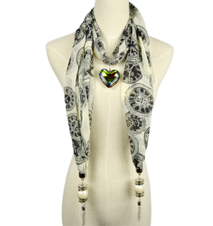 Clock Heart Pendant jewelry scarf