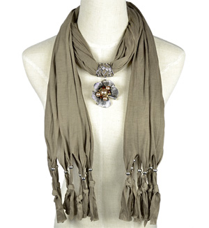 Flowers pendant scarf zinc alloy jewelry scarves accessories