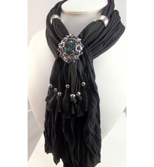 Black necklace jewelry pendant scarf