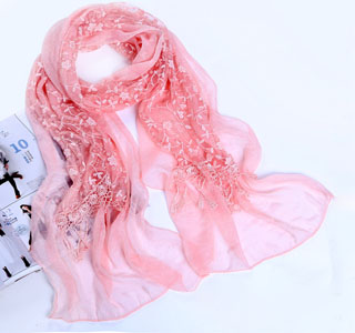 lace scarf with silk scarf