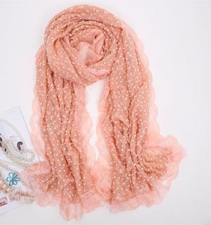 woolen with lace scarf