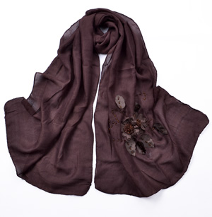 Embroidered silk scarf wholesale