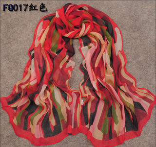 Colorful hand painted scarves
