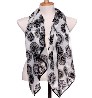 Clock fashion Chiffon Scarves