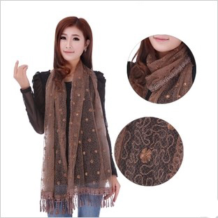 lace fabric long scarf for lady