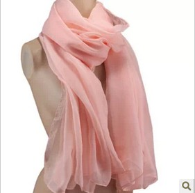 pure color silk chiffon pandant scarf