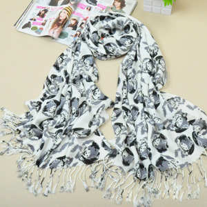 wholesale cheap skull print cotton scarf