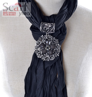 Fashion cotton Pendant Scarf with Jewellery