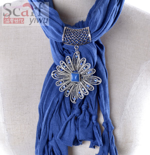 Womens Pendant Scarf with Jewellery