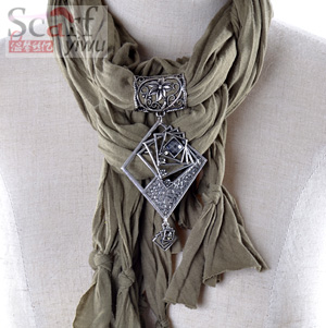 Necklace Pendant scarf with metal jewelry