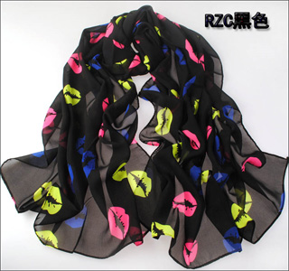 Lip print color chiffon scarf