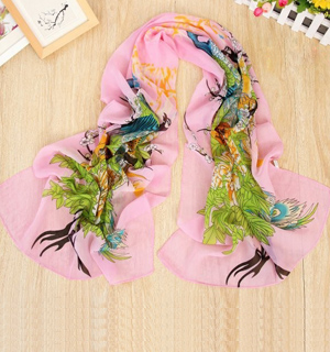 Peacock Peony printed scarves wholesale