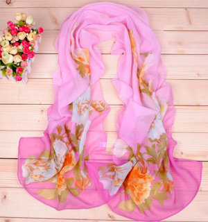 Graffiti peony printed scarves wholesale