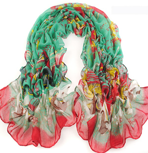 Color gradient printed scarves wholesale