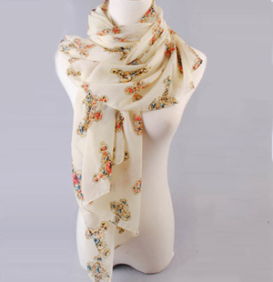 Skull print scarves wholesale female models