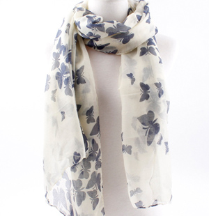 Women scarves wholesale printing monochrome butterfly