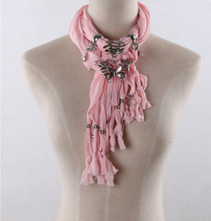 Pink butterfly pendant scarves wholesale