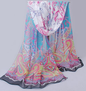 Wholesale Women Thin section silk flower scarf