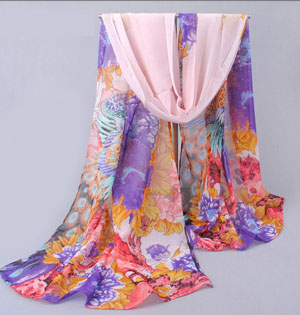 Thin section peony printed scarf silk shawls wholesale