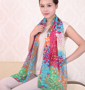 Wholesale peacock printed long scarf