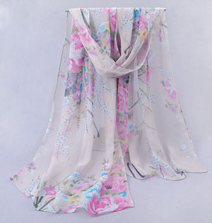 Colored flowers chiffon scarves shawls