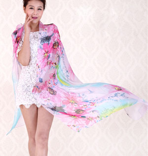 Sunflower printed scarves wholesale