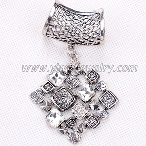 Square metal scarf pendants