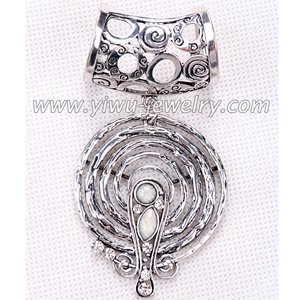 Alloy decorated scarf necklace with jewelry pendant