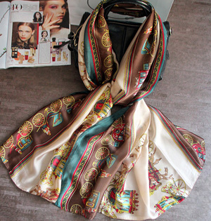 Carriage print silk scarf wholesale