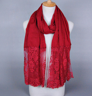 Lace and cotton scarf wholesale