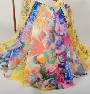 Silk floral scarf wholesale
