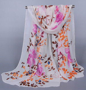 Chiffon floral scarf wholesale