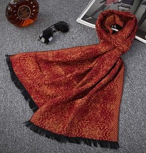 Fringed cotton scarf for men