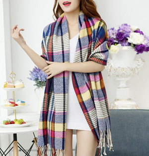 Wholesale plaid cashmere women scarf